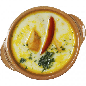 Уха «по-Скандинавски» в сливках с лососем и судаком